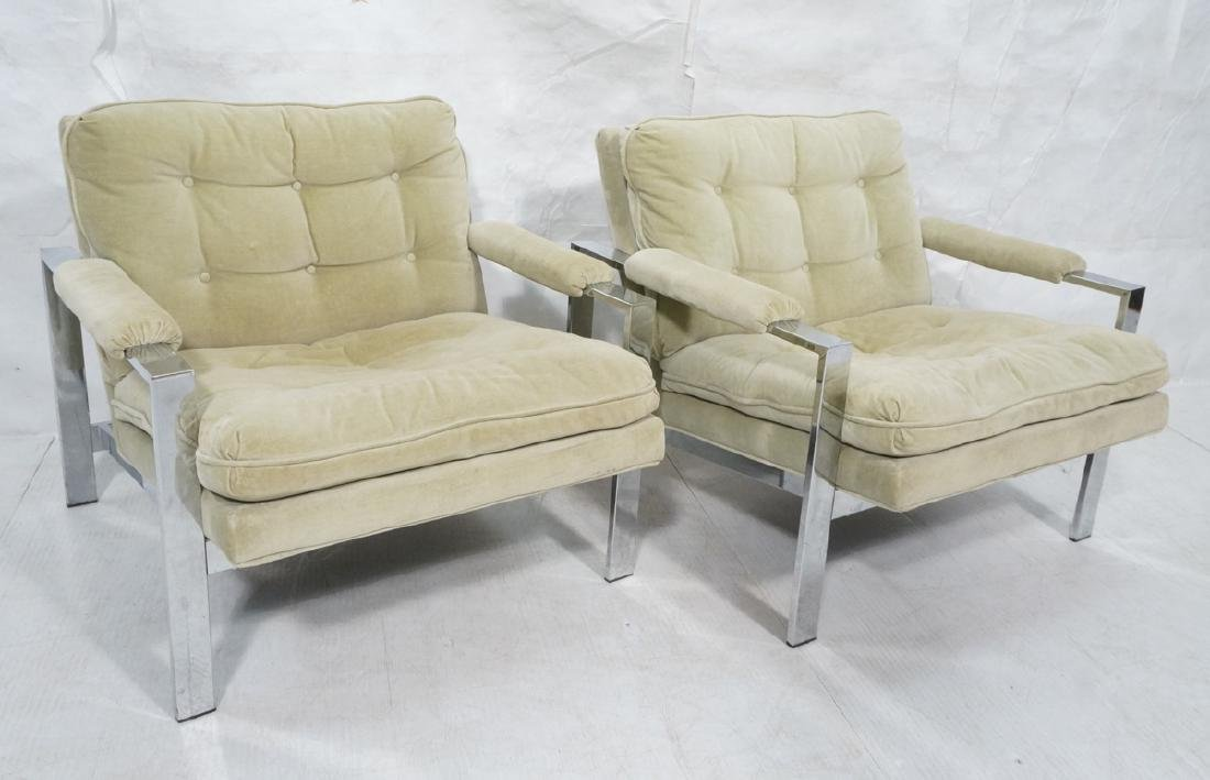 Pr MILO BAUGHMAN  Chrome Lounge Chairs. Wide flat