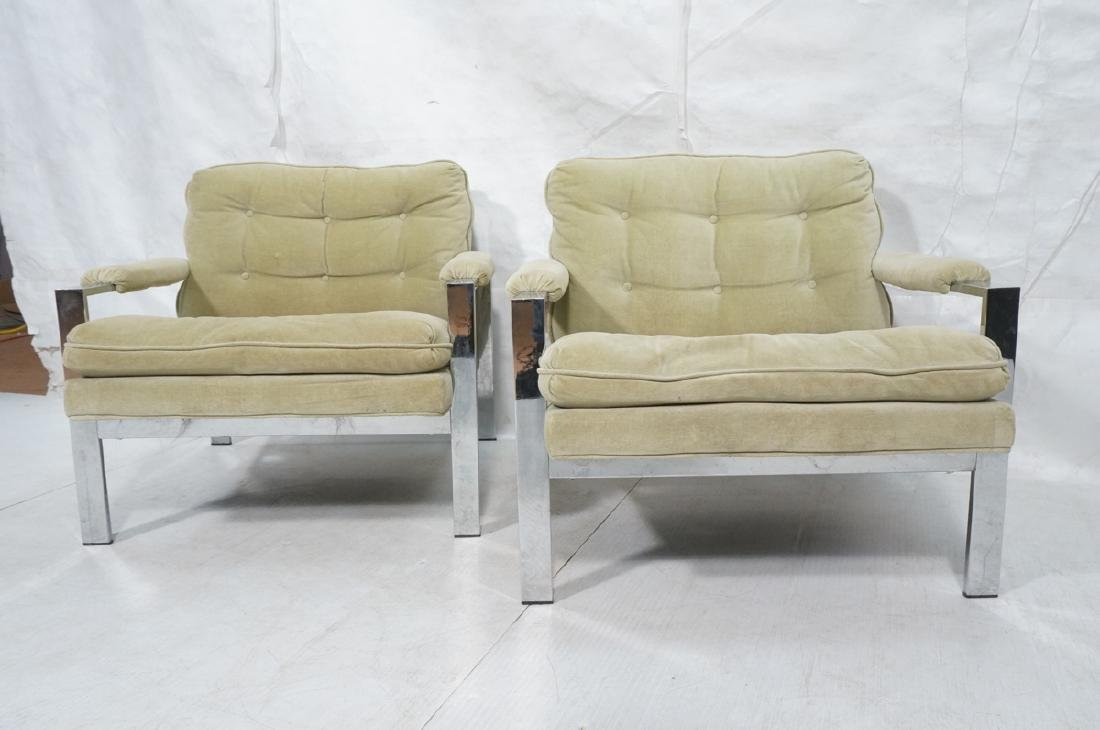 Pr MILO BAUGHMAN  Chrome Lounge Chairs. Wide flat - 2