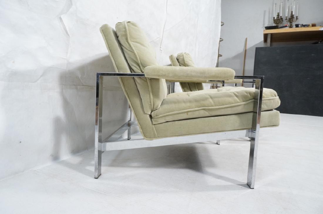 Pr MILO BAUGHMAN  Chrome Lounge Chairs. Wide flat - 4