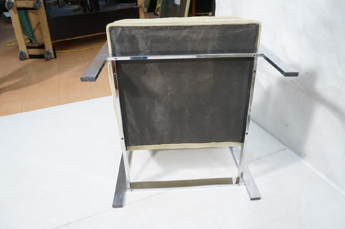 Pr MILO BAUGHMAN  Chrome Lounge Chairs. Wide flat - 6