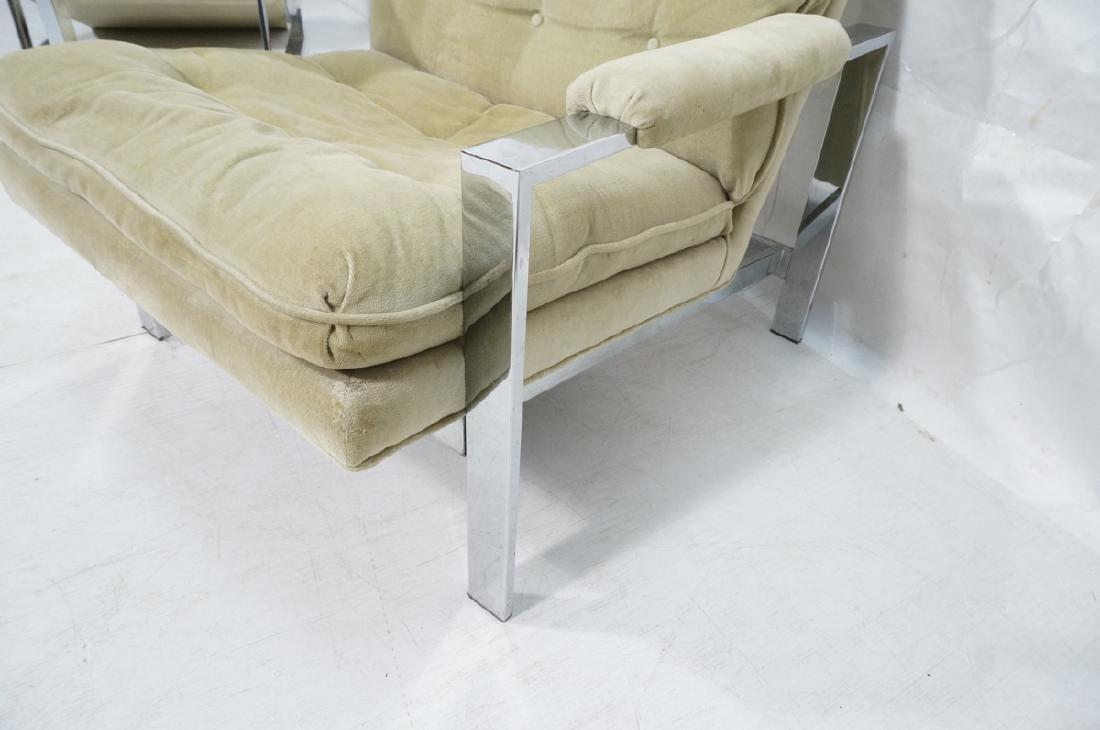 Pr MILO BAUGHMAN  Chrome Lounge Chairs. Wide flat - 8