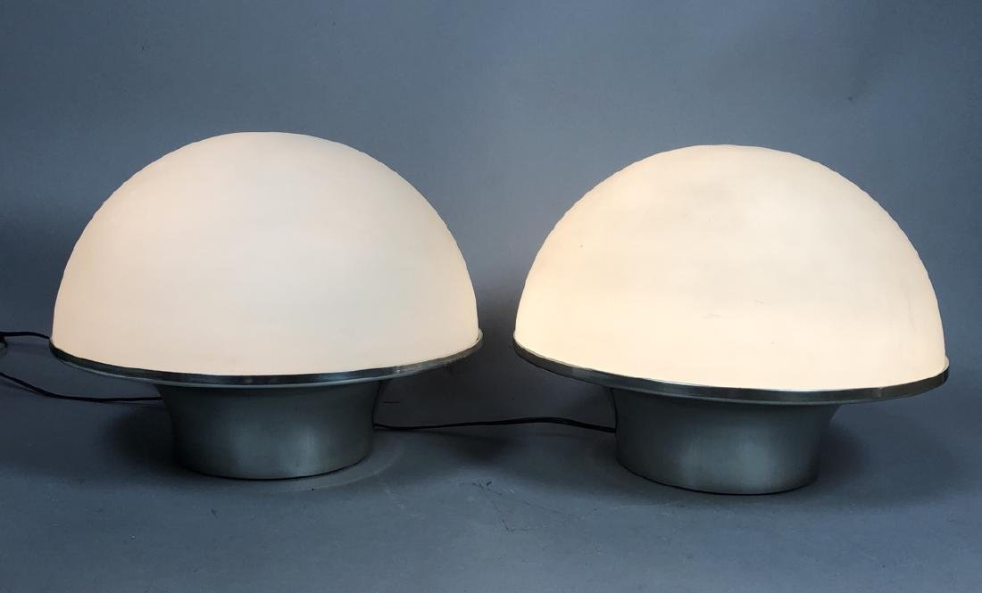 Pr Frosted Glass Modernist Mushroom Table Lamps.