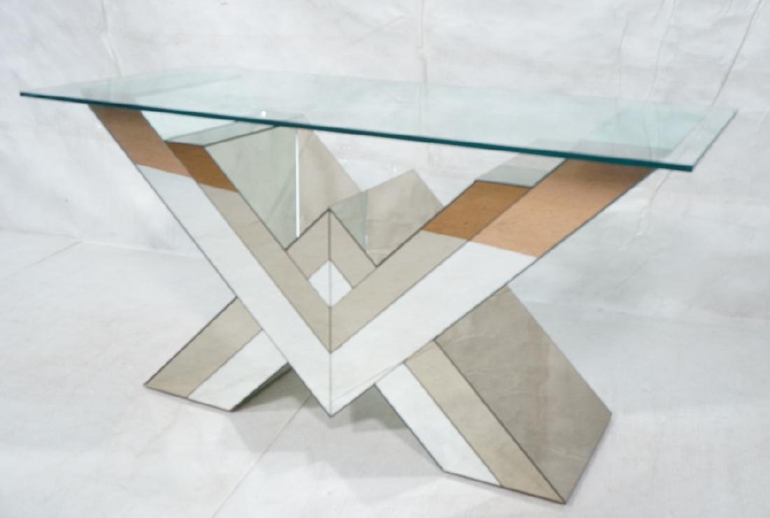 Decorator Glass Top Tall Console Table. Two Tone