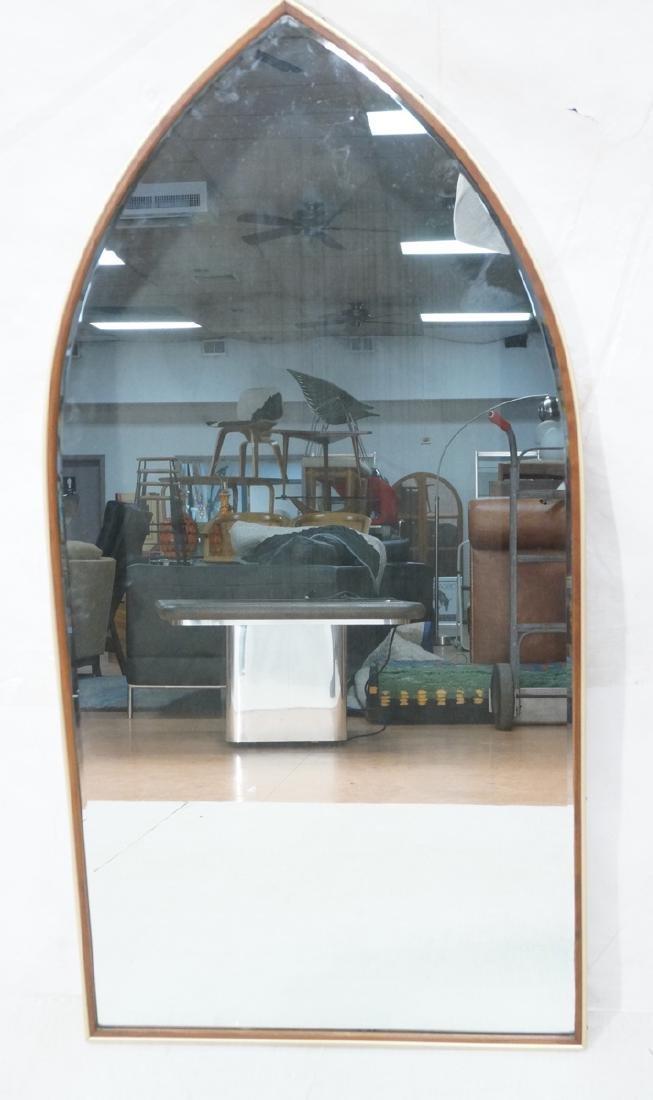 Modern Pointed Arch Wall Mirror. Gilt Aluminum &
