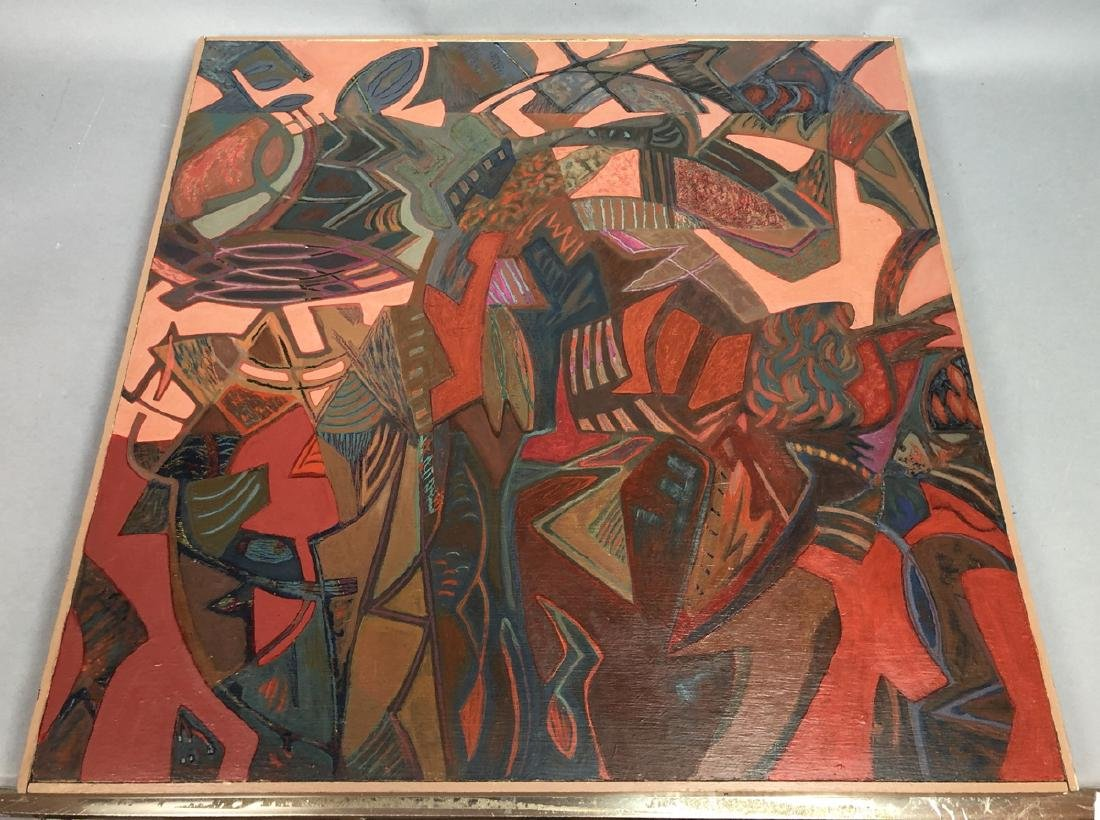 Modernist Abstract Oil Painting. Peach, blues, or