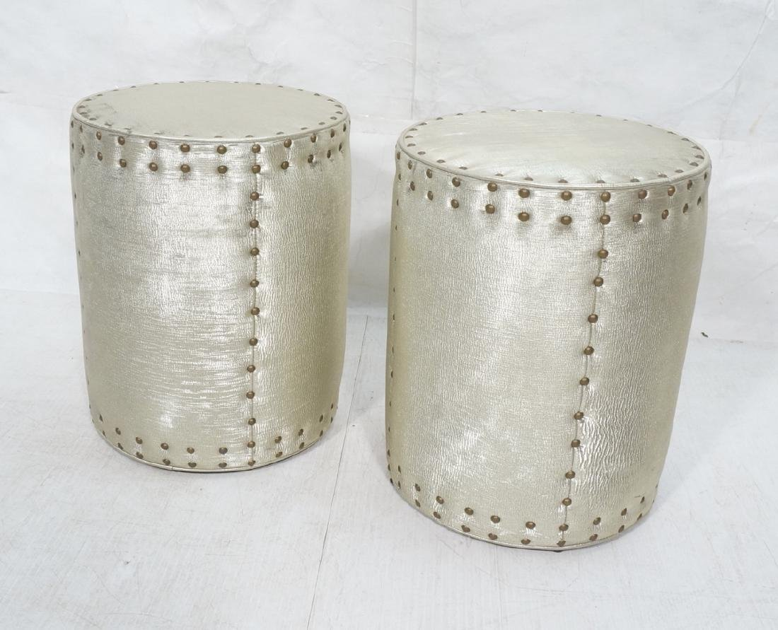 Tall Cylinder Metallic Fabric Stools Ottomans Ben