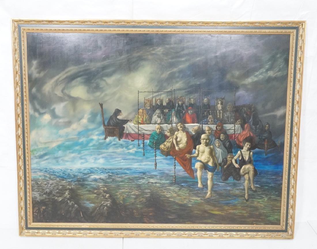 THOMAS N. TONER Oversize Surreal Oil Painting. Ma