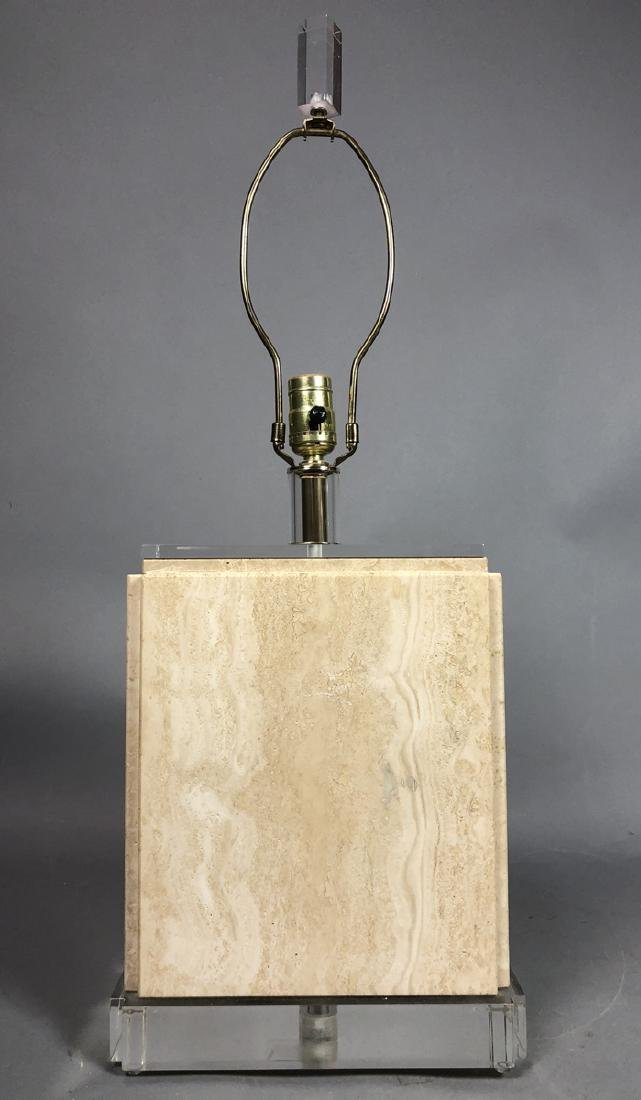 Modern Travertine Marble Rectangular Table Lamp.