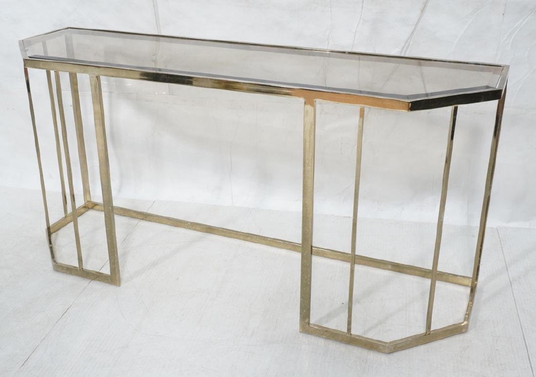 Contemporary Brass Tone Glass Top Hall Table. Bev