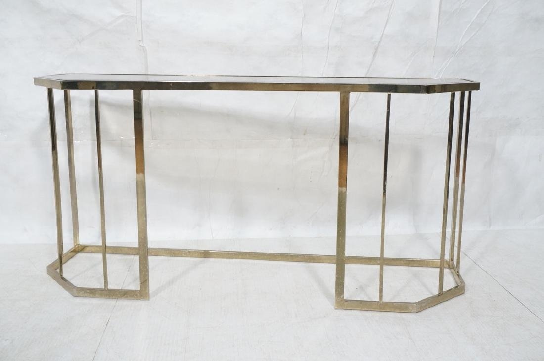 Contemporary Brass Tone Glass Top Hall Table. Bev - 2