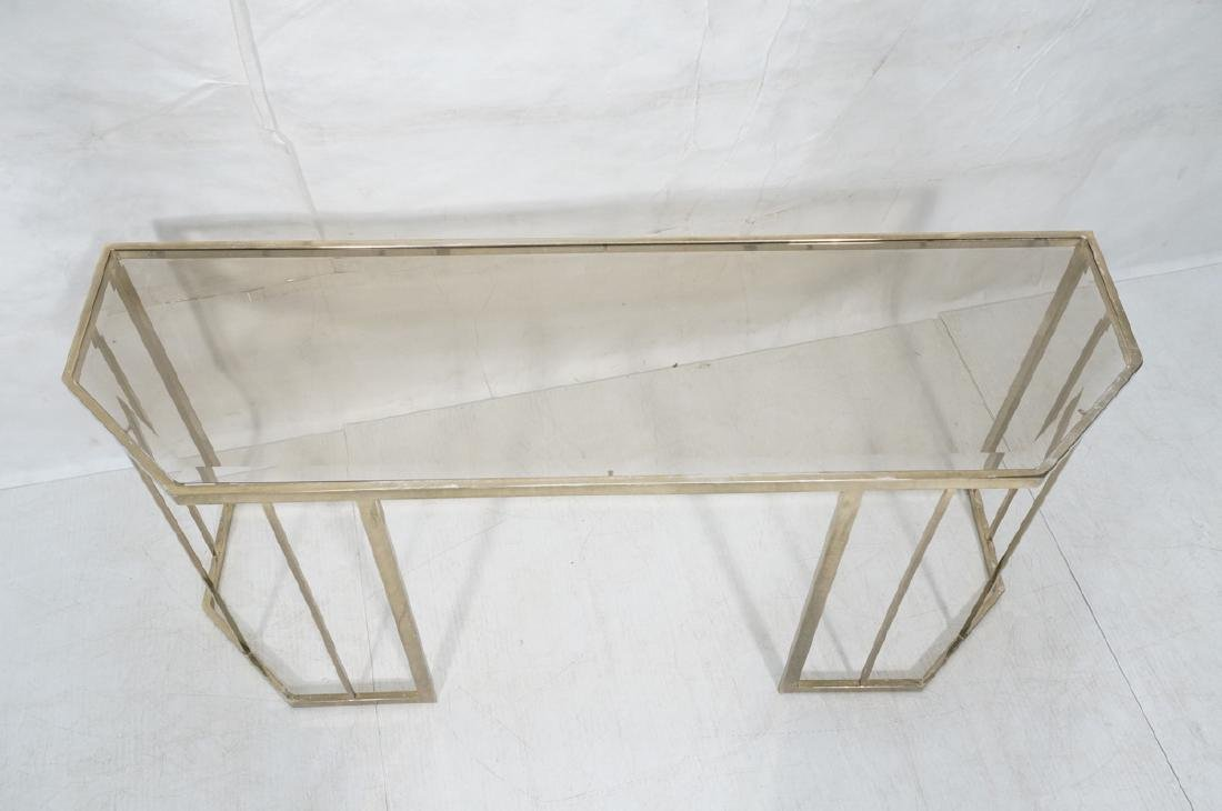 Contemporary Brass Tone Glass Top Hall Table. Bev - 3