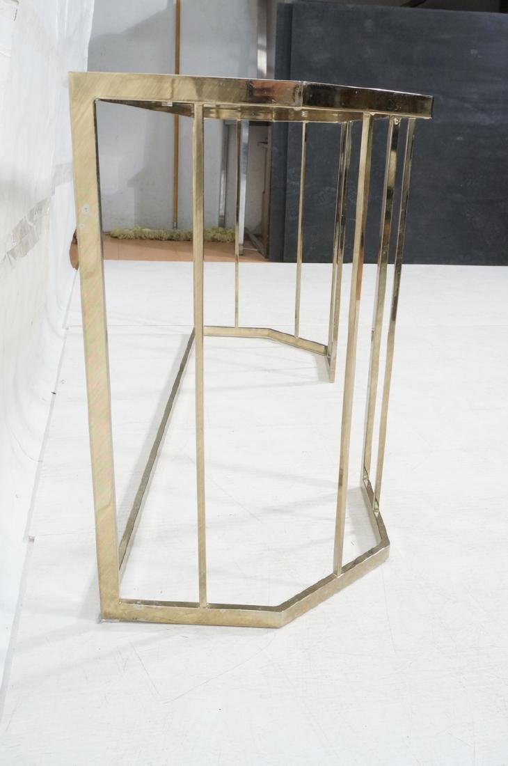 Contemporary Brass Tone Glass Top Hall Table. Bev - 4