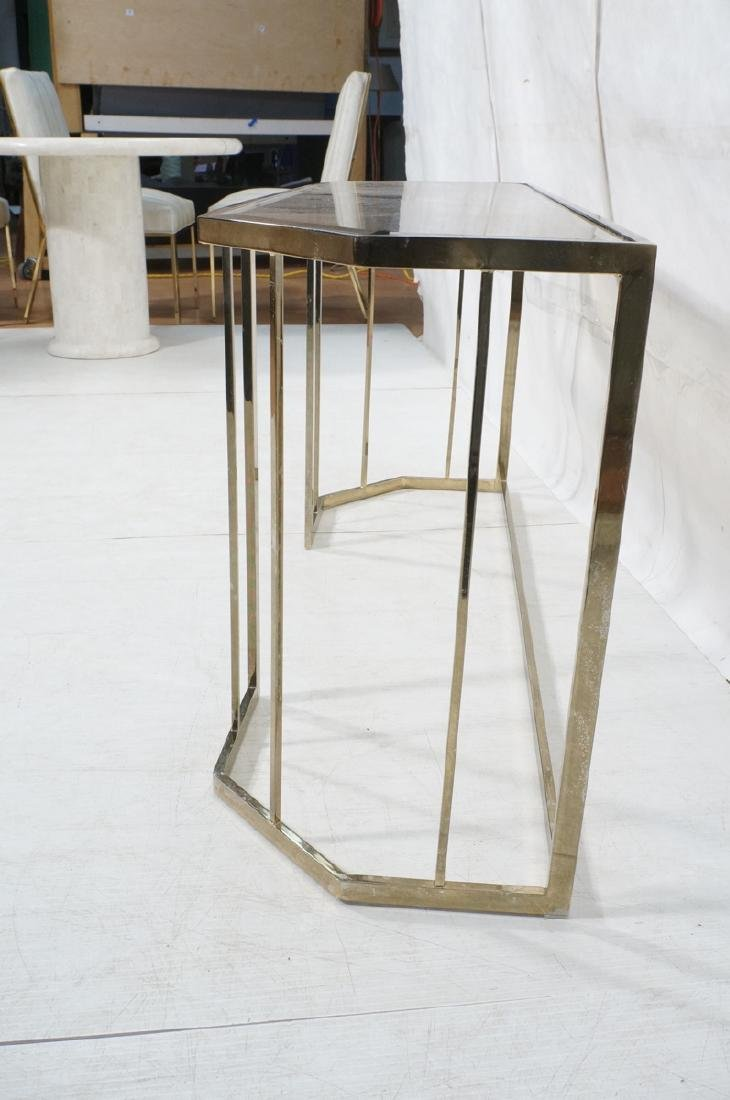 Contemporary Brass Tone Glass Top Hall Table. Bev - 5