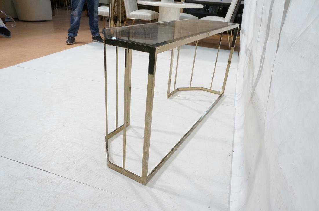 Contemporary Brass Tone Glass Top Hall Table. Bev - 6