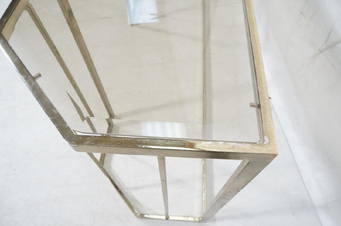 Contemporary Brass Tone Glass Top Hall Table. Bev - 7