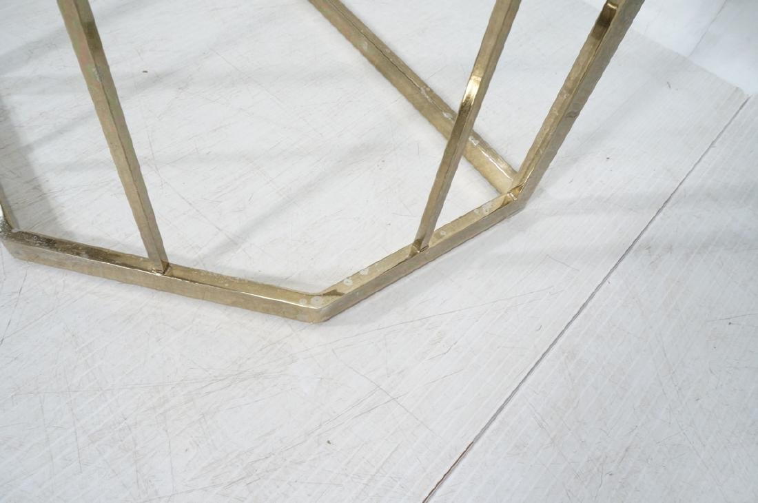 Contemporary Brass Tone Glass Top Hall Table. Bev - 8