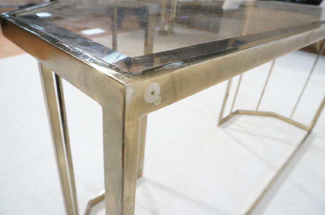 Contemporary Brass Tone Glass Top Hall Table. Bev - 9