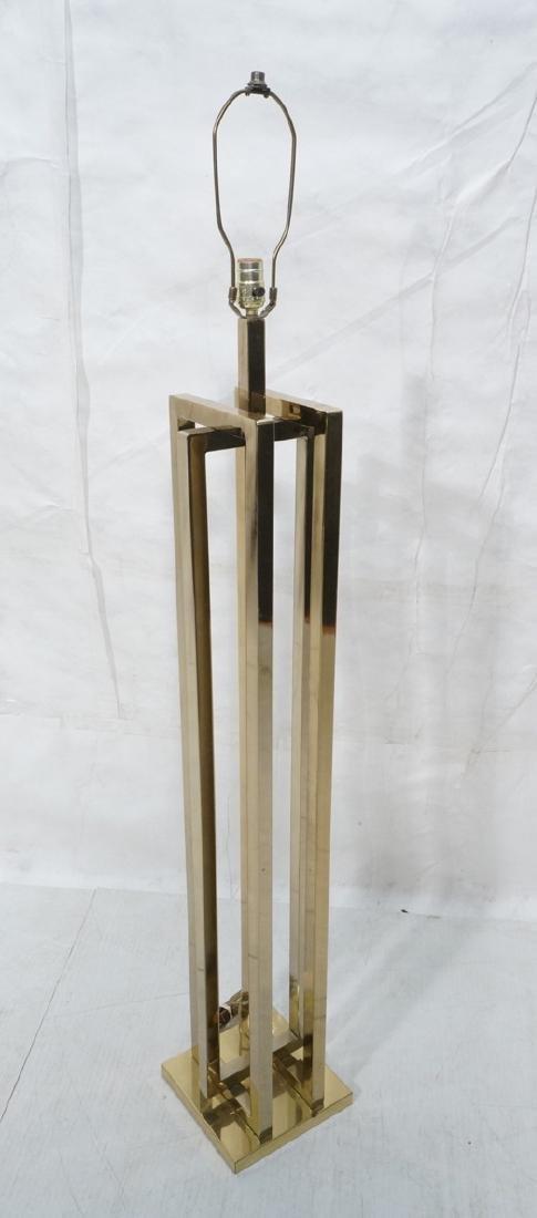 Stylish Modernist Brass Square Column Floor Lamp.