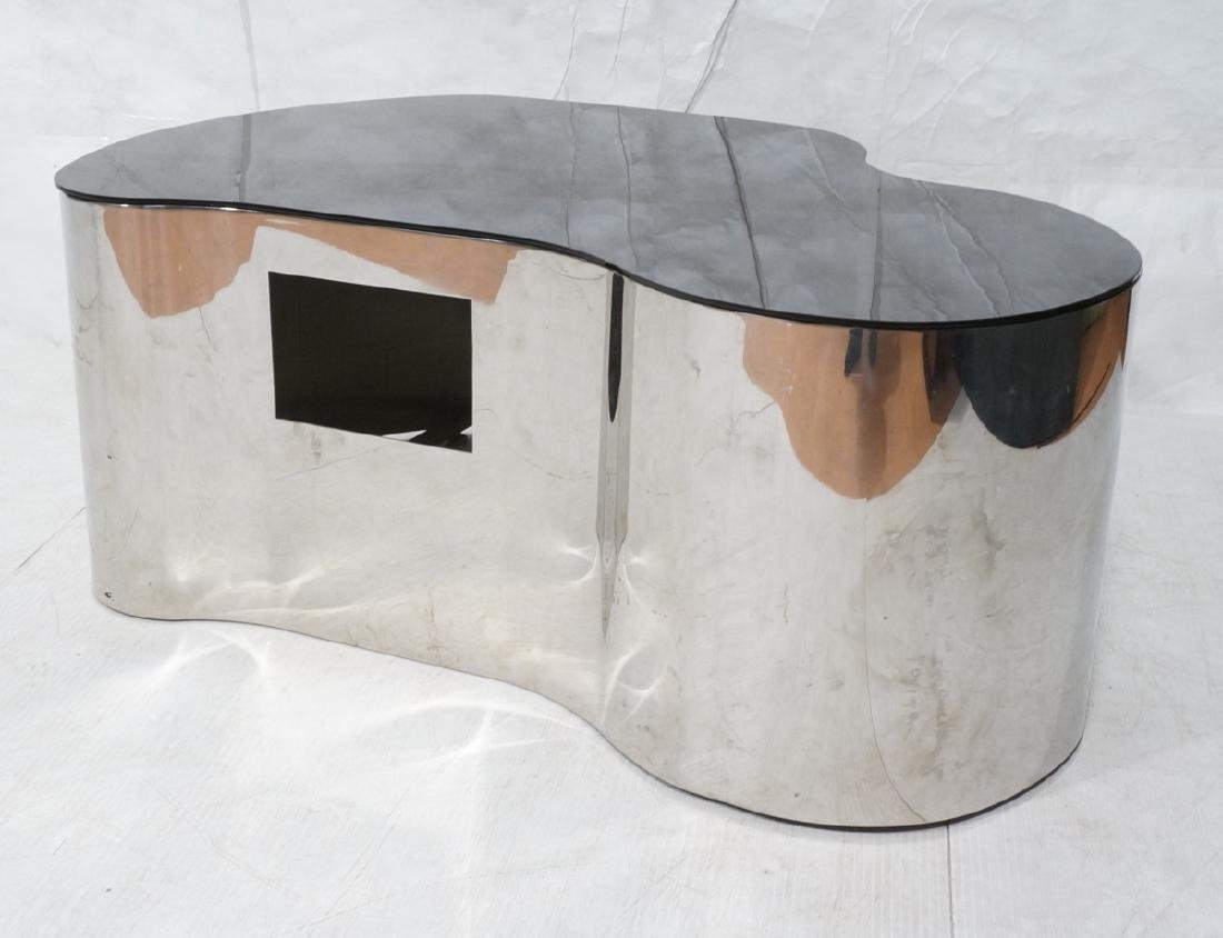 Karl Springer  Chrome Base Coffee Table. Black gl
