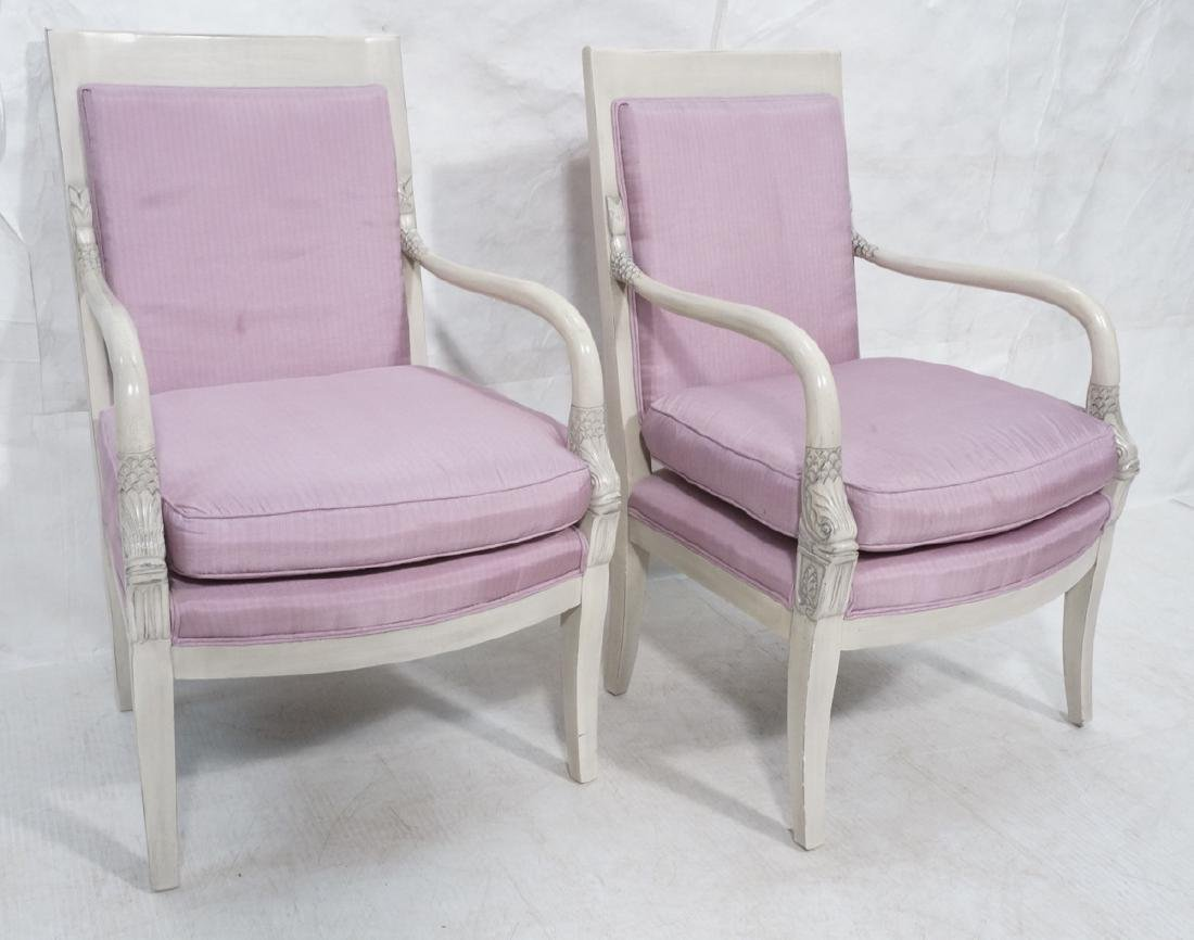 French Style Carved Dolphin Bergere Arm Chairs. S