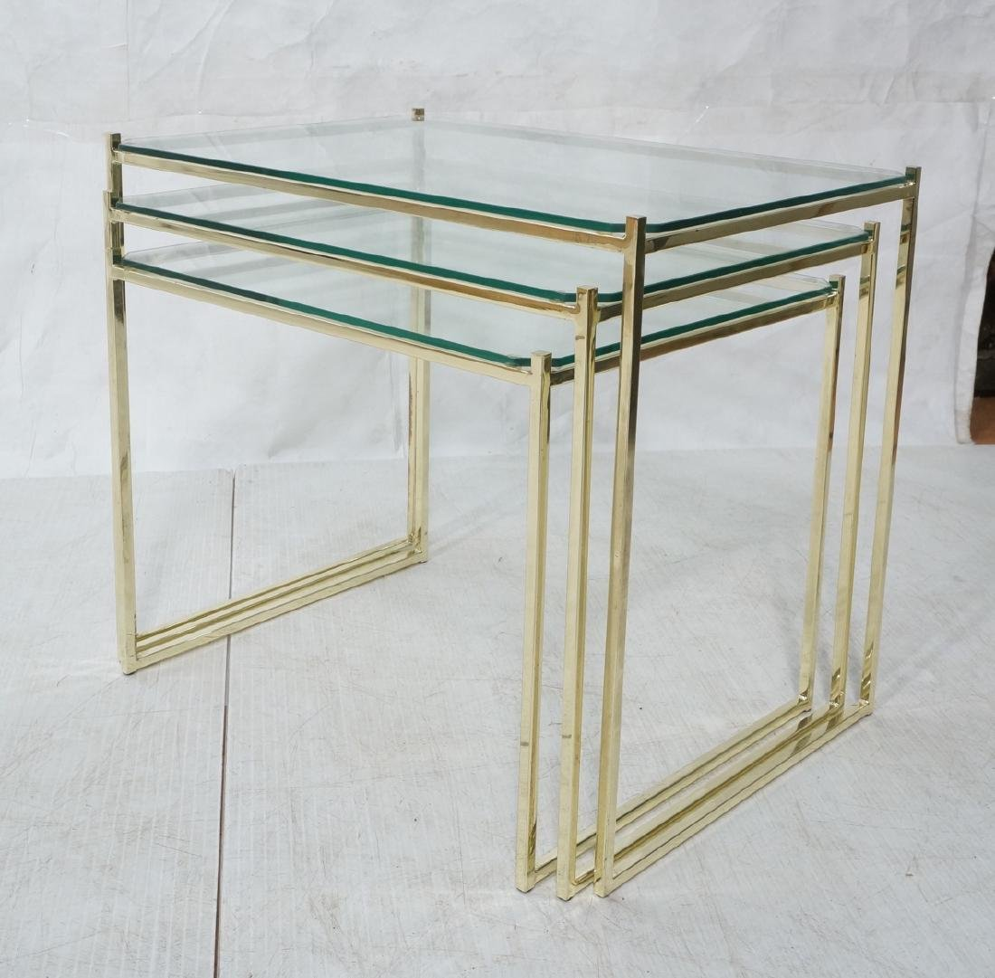 3 Brass & Glass Nesting Tables. Thin square brass