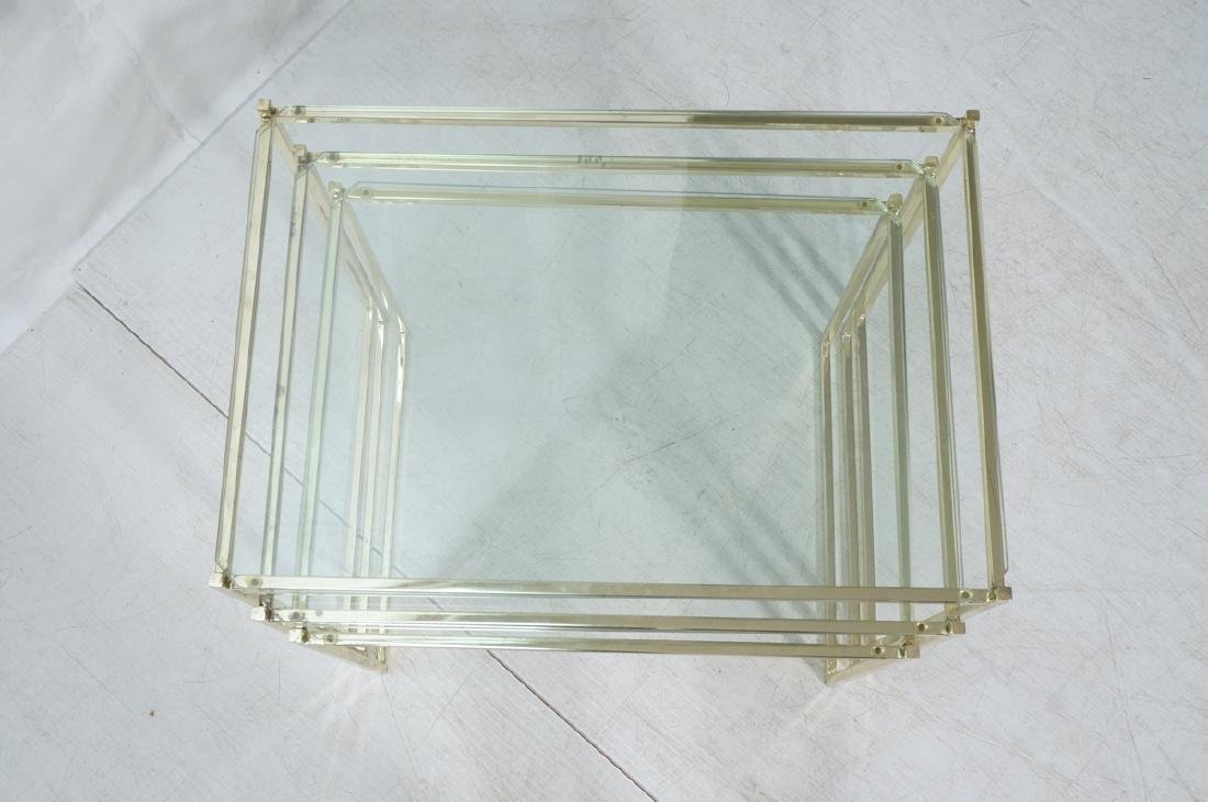 3 Brass & Glass Nesting Tables. Thin square brass - 2