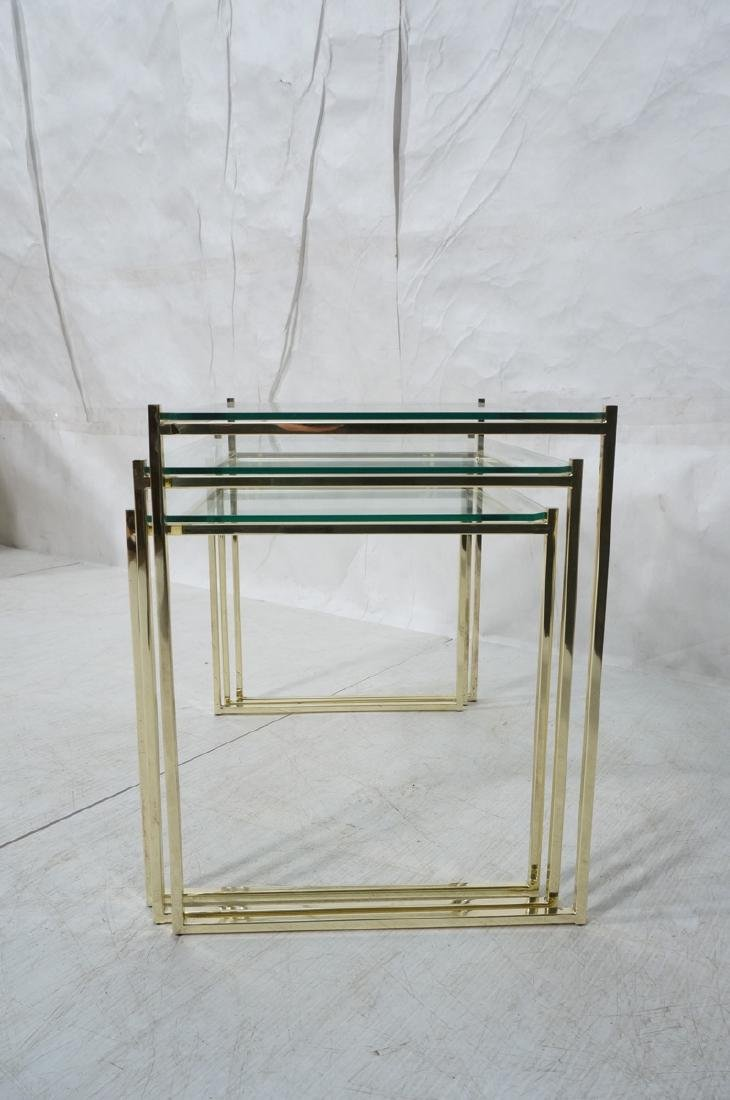 3 Brass & Glass Nesting Tables. Thin square brass - 3