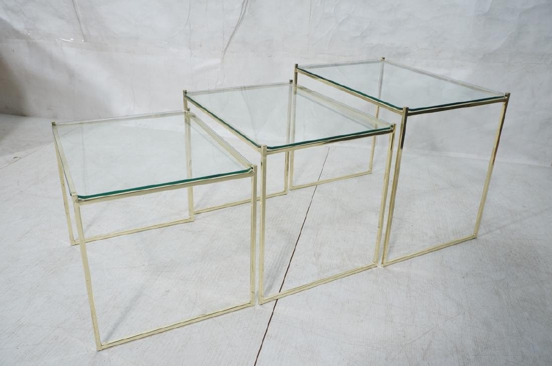 3 Brass & Glass Nesting Tables. Thin square brass - 4