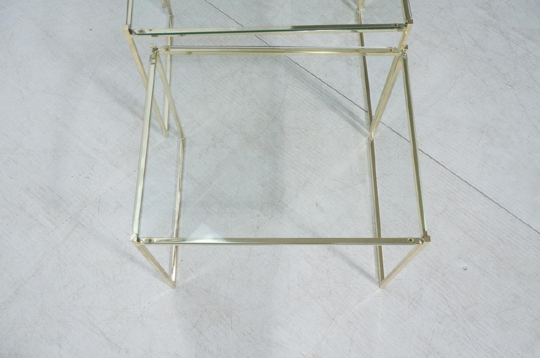 3 Brass & Glass Nesting Tables. Thin square brass - 5