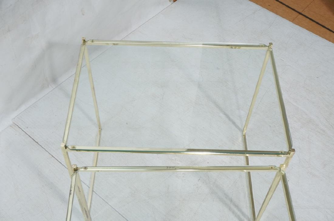 3 Brass & Glass Nesting Tables. Thin square brass - 7
