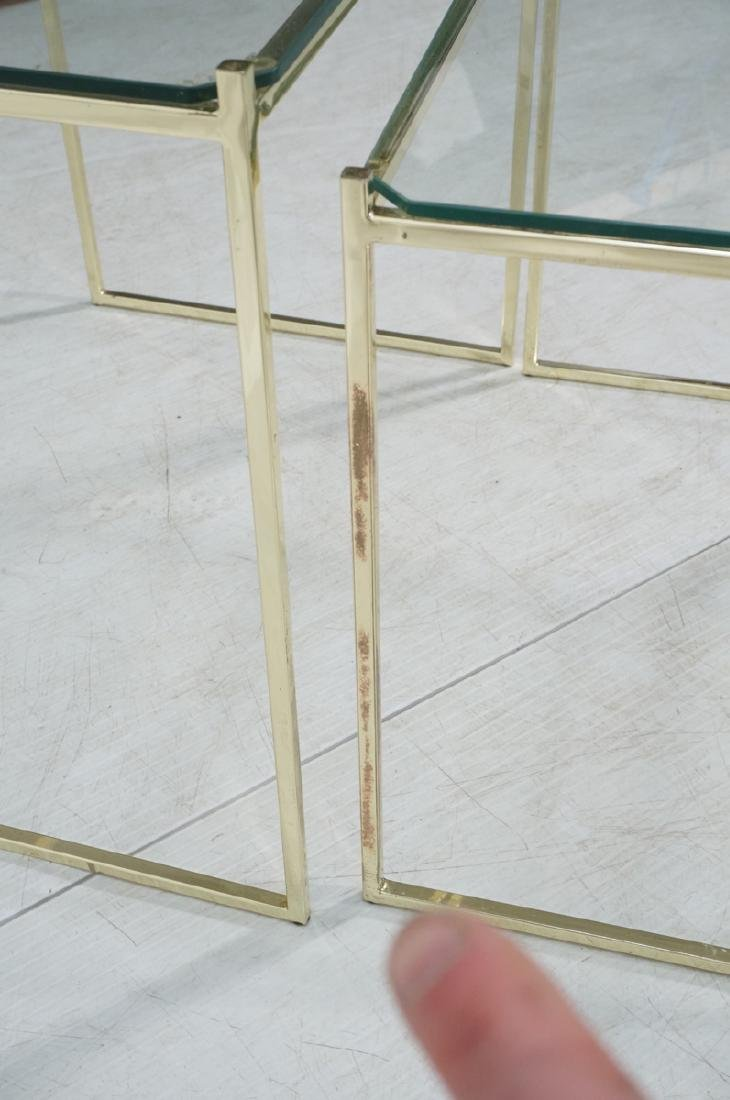 3 Brass & Glass Nesting Tables. Thin square brass - 8