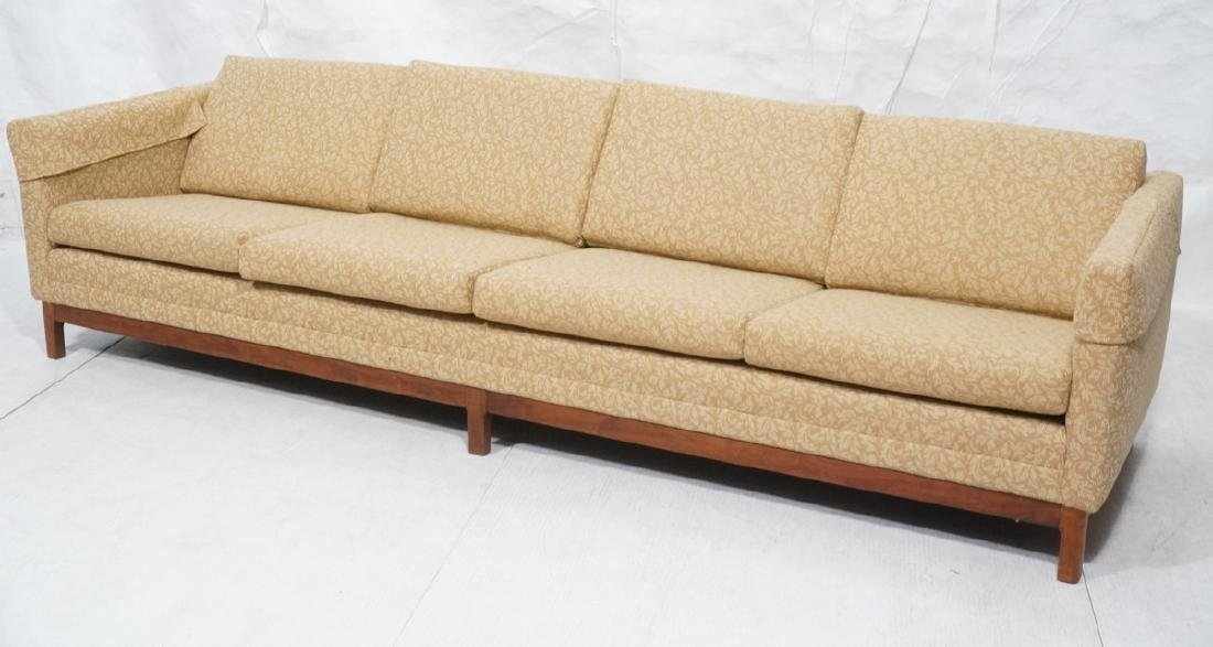 Modernist Sofa Couch Walnut Frame Gold & Beige Fe