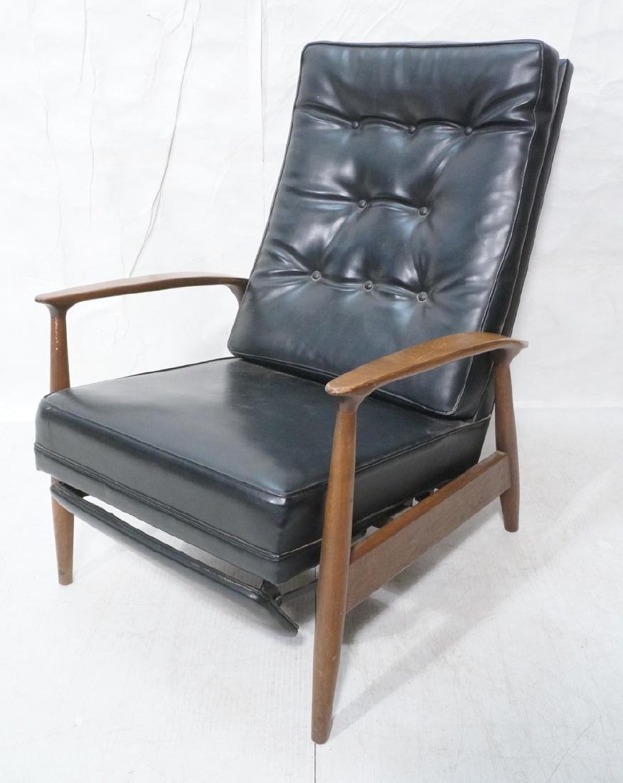 Black Vinyl Tall Back Recliner Lounge Chair. Baug