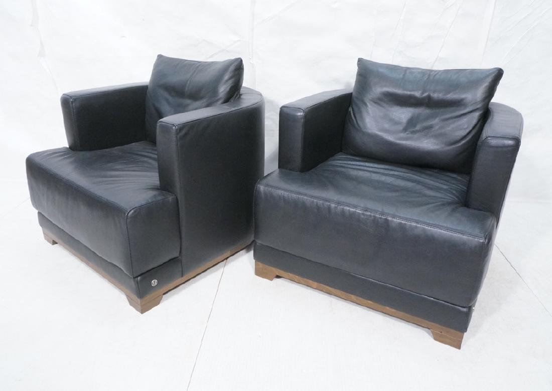 Pr Black NATUZZI Leather Barrel Back Lounge Chair
