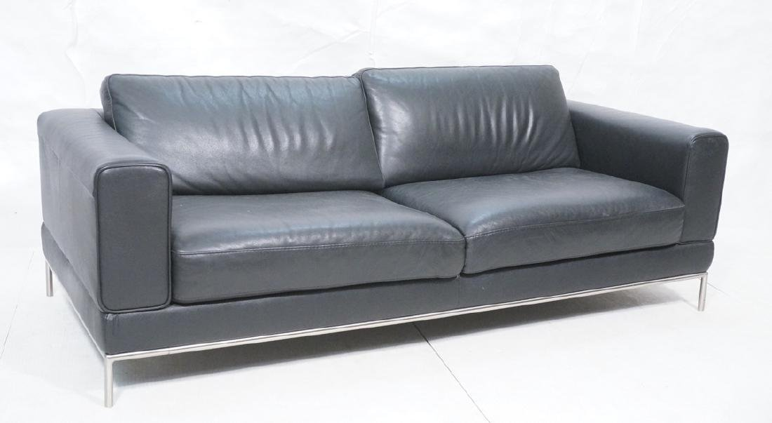 NATUZZI Black Pebble Leather Modernist Sofa Couch