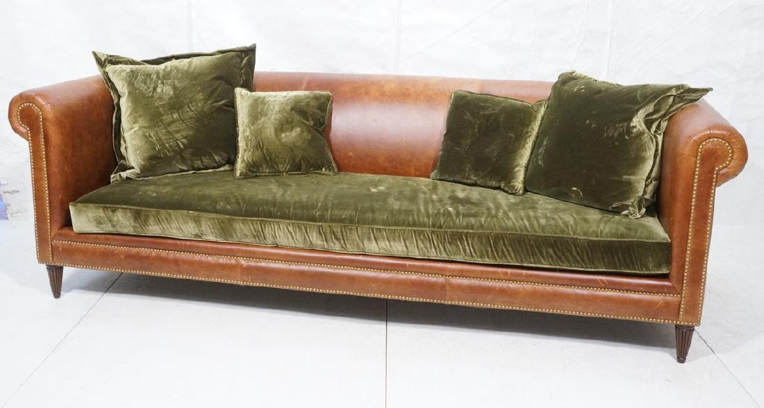 Contemporary Brown Leather Green Velvet Sofa. Ove