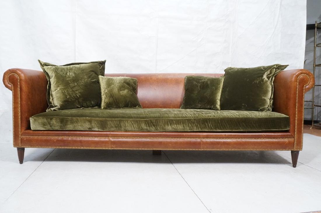 Contemporary Brown Leather Green Velvet Sofa. Ove - 2