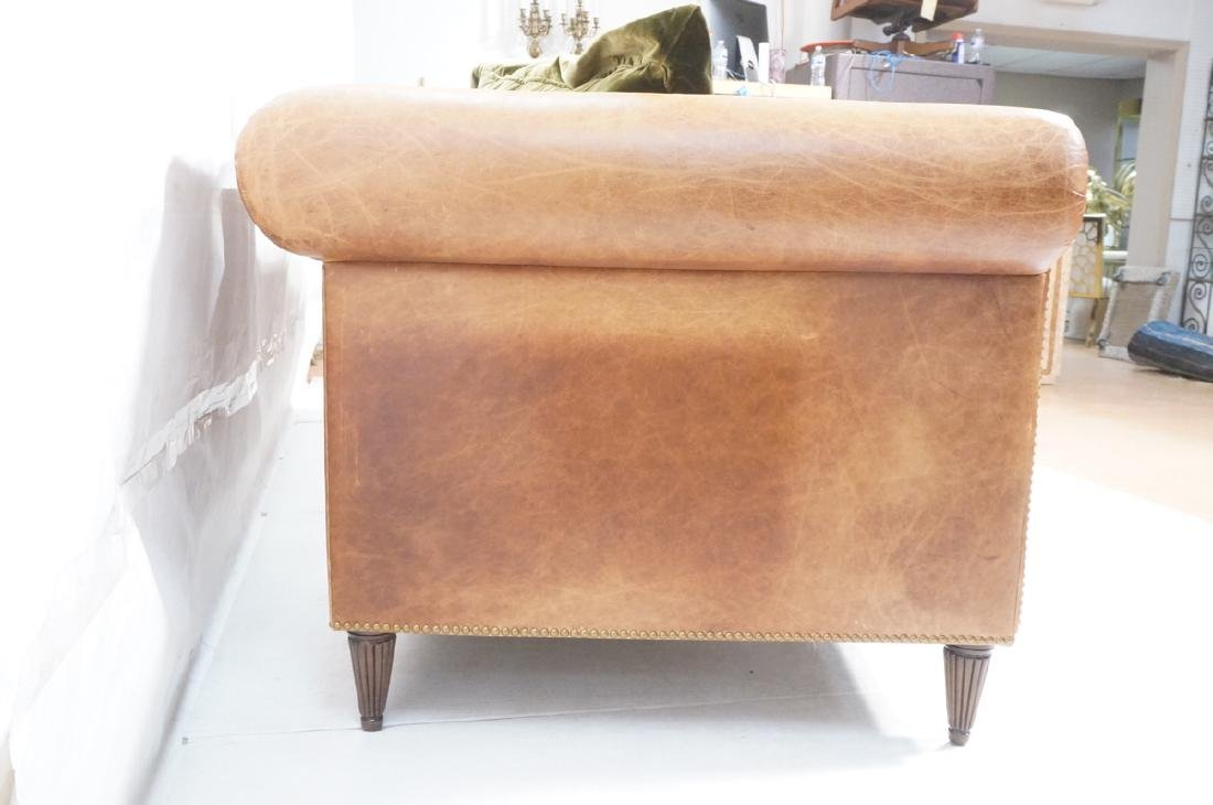Contemporary Brown Leather Green Velvet Sofa. Ove - 3