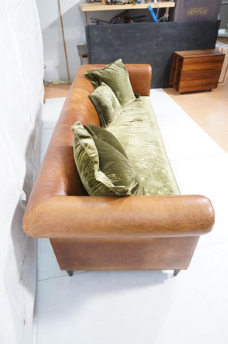 Contemporary Brown Leather Green Velvet Sofa. Ove - 4