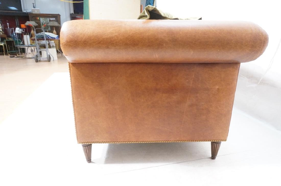 Contemporary Brown Leather Green Velvet Sofa. Ove - 5