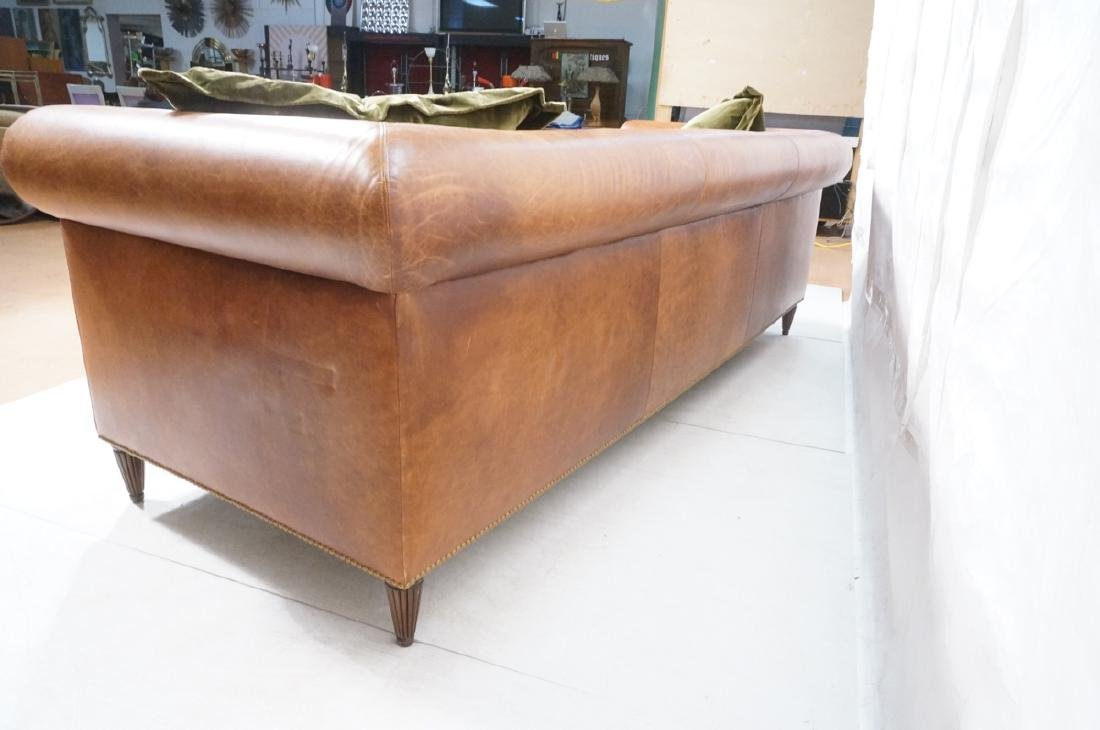 Contemporary Brown Leather Green Velvet Sofa. Ove - 6