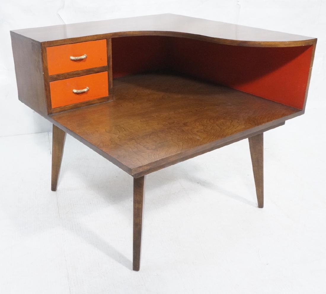 Mid Century Modern Square Step Table. Curved shap