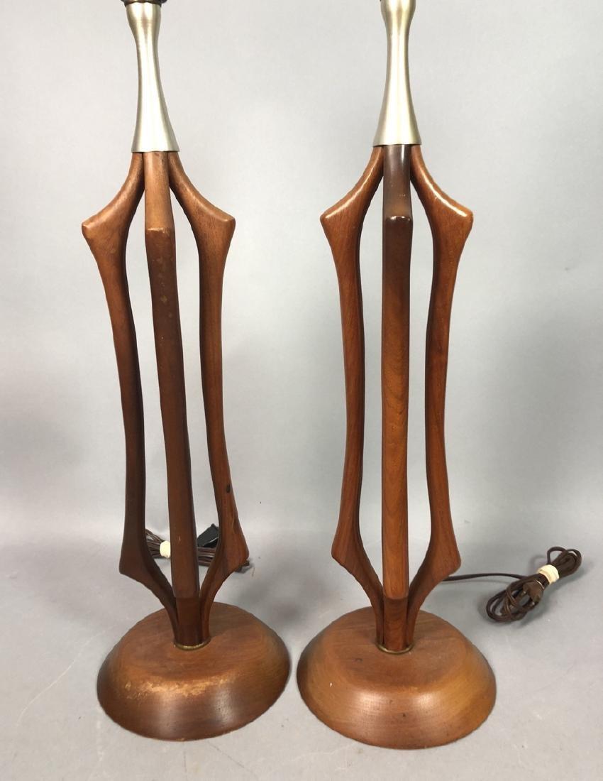 Pr American Modern Walnut Aluminum Table Lamps. 4