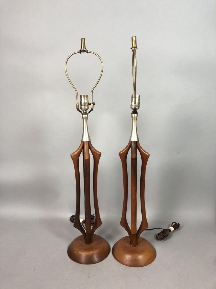 Pr American Modern Walnut Aluminum Table Lamps. 4 - 2