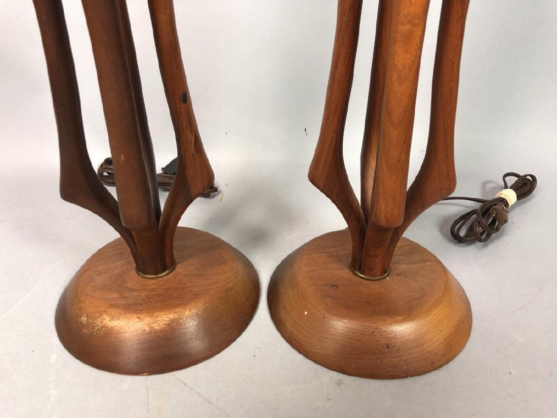 Pr American Modern Walnut Aluminum Table Lamps. 4 - 3