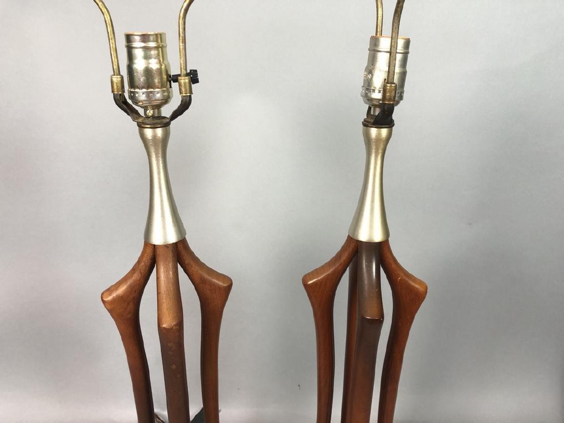 Pr American Modern Walnut Aluminum Table Lamps. 4 - 4