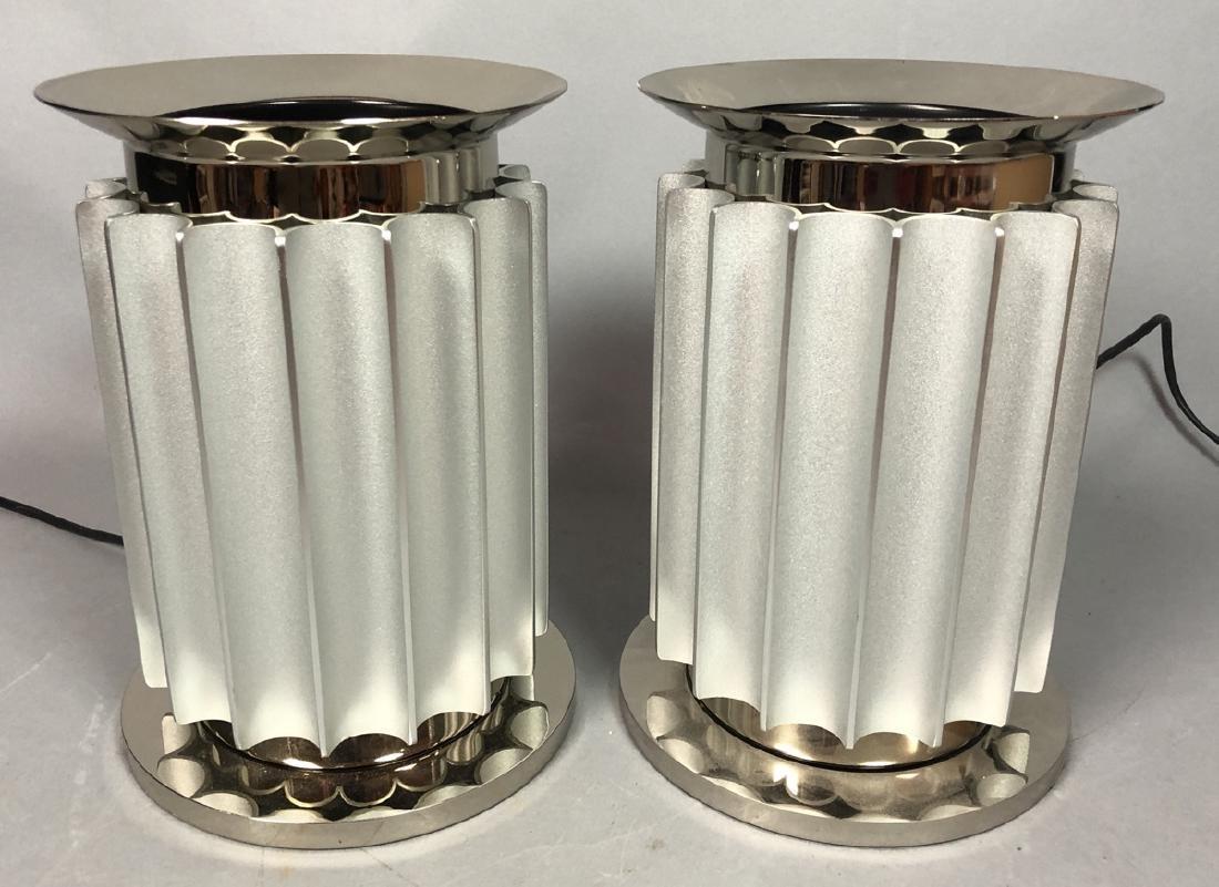 Pr FLOS Modernist Fluted Column Metal Table Lamps