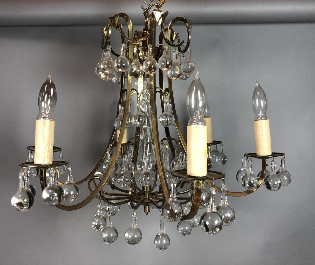 Modern Brass Tone Hanging Chandelier. Clear Glass