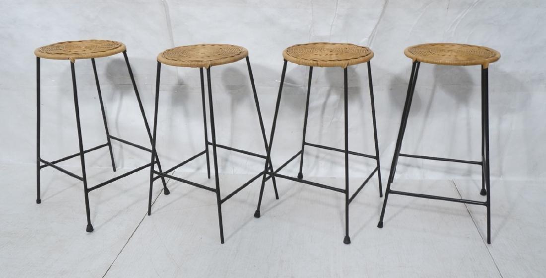 4 Modernist UMANOFF Style Woven Rattan Bar Stools