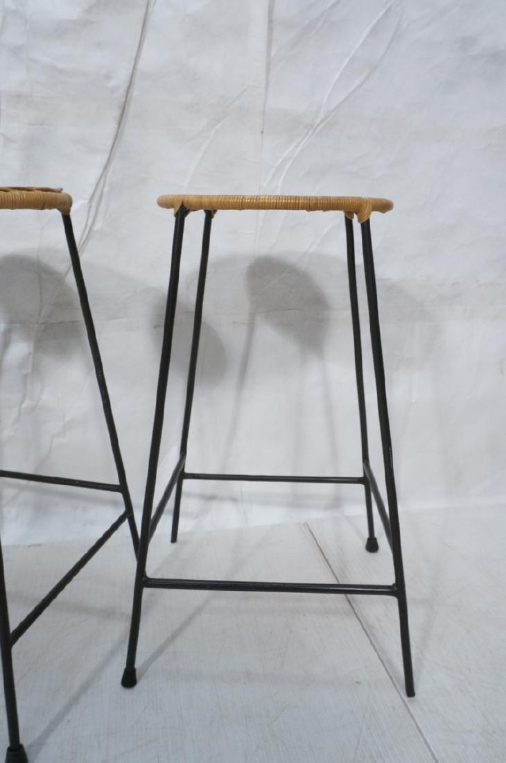 4 Modernist UMANOFF Style Woven Rattan Bar Stools - 2